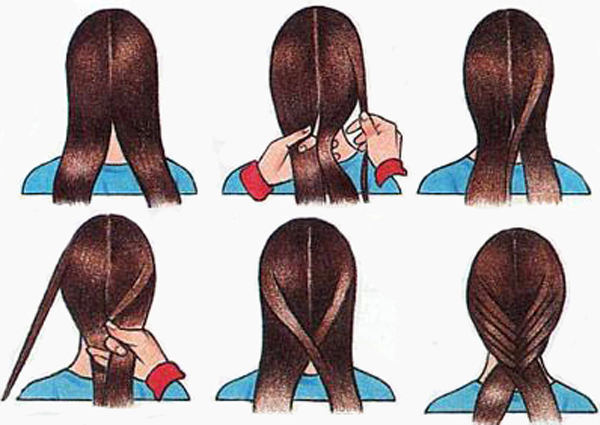 схема плетения косы